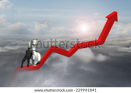 businessman push 3D dollar sign upward at starting point of red trend line with sunlight cloudscape background - stock photo