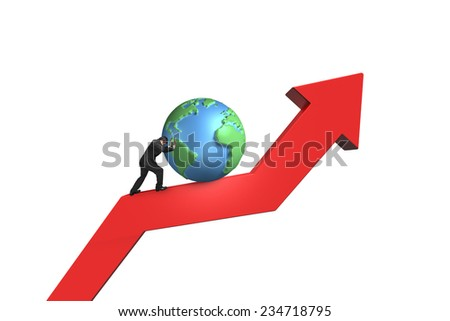 businessman push 3d globe upward on red trend line with white background - stock photo