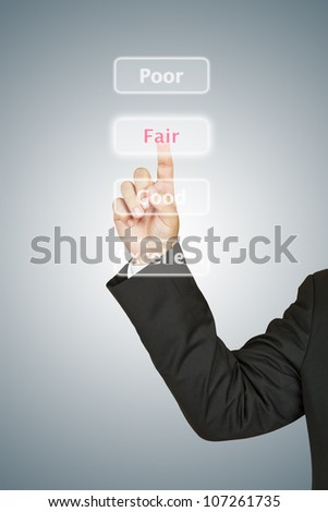 Businessman push Fair button
