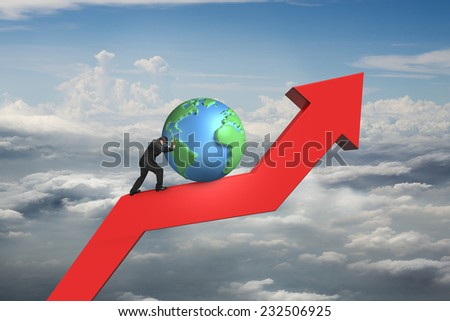 businessman push globe upward on red trend line with cumulus cloudscape background - stock photo