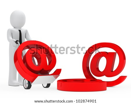 businessman push hand truck with email sign