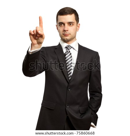 businessman push the button on virtual touch pad - stock photo
