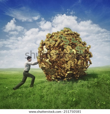 Businessman pushing ball of dollars - stock photo