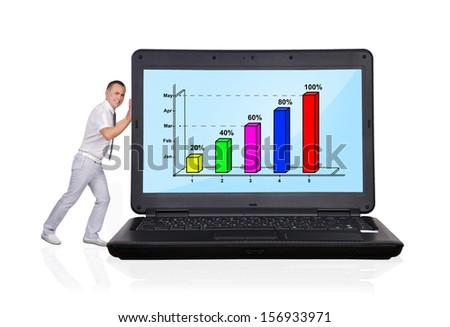 businessman pushing big laptop with business chart