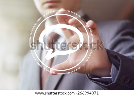 Businessman pushing button cloud sign icon web - stock photo