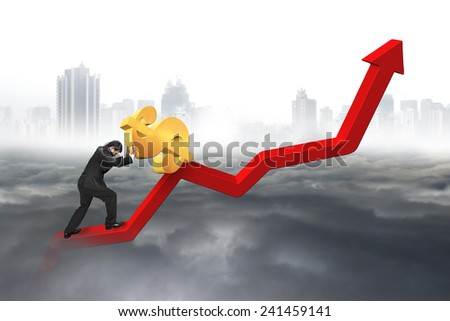 businessman pushing 3D dollar sign at starting point of red trend chart with cloudy sky cityscape background - stock photo