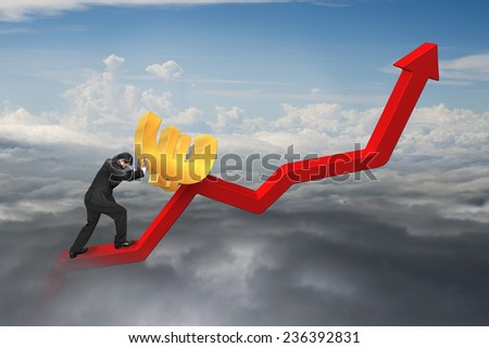 businessman pushing 3D euro sign at starting point of red trend chart with natural cloudscape background - stock photo