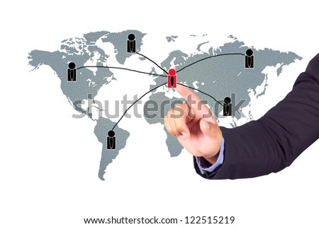 Businessman pushing on social network structure - stock photo