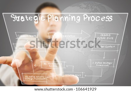 Businessman pushing strategic planning on tablet screen. - stock photo