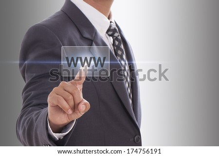 Businessman pushing virtual domain name on white background, internet concept  - stock photo