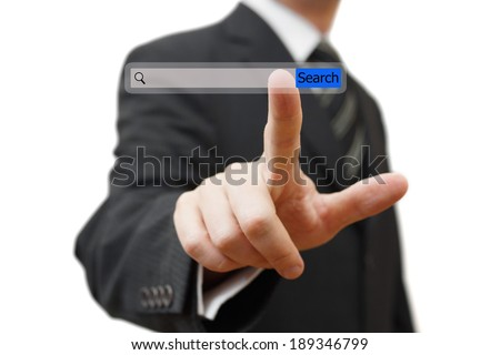 businessman pushing virtual search bar on white background, internet concept. - stock photo
