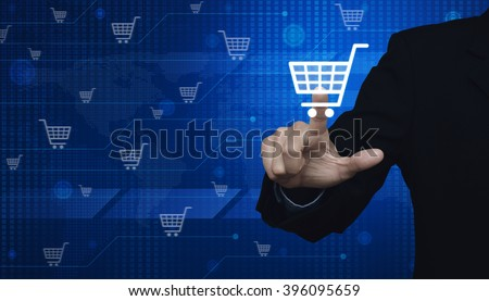 Businessman pushing virtual symbol of online shopping over digital world map technology style, Elements of this image furnished by NASA