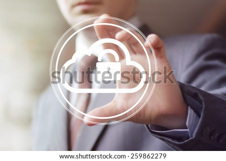 Businessman pushing web button cloud lock web - stock photo