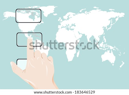 Businessman pushing World Map for Business and Technology Concept.