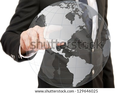 Businessman pushing World Map Globe for Business and Technology Concept.