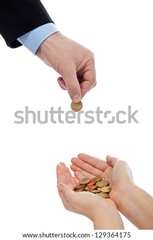 Businessman putting coin in a safety woman hands