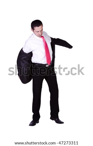 Businessman Putting His Jacket On Getting Ready - Isolated Background