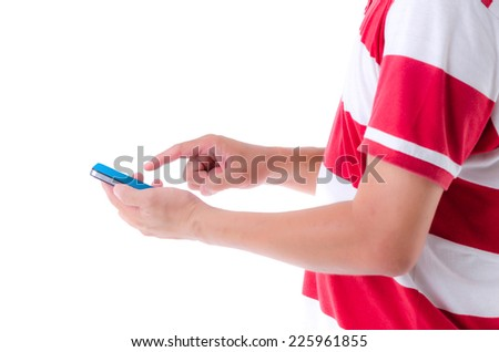 Businessman putting touch screen mobile phone