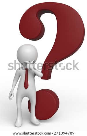 businessman question mark - stock photo