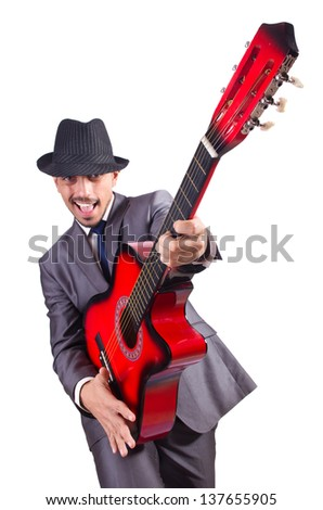 Businessman quitar player isolated on white