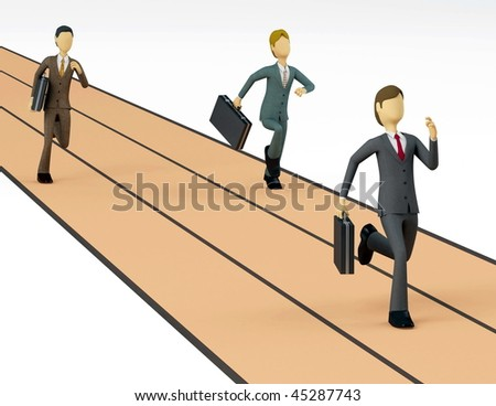 Businessman race his rival in a symbolic business competition. - stock photo