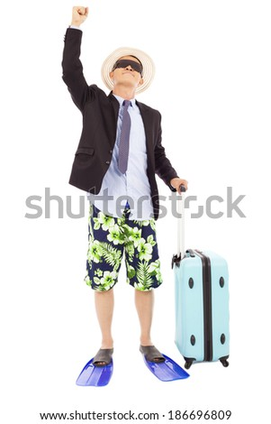 businessman raise a hand and look up - stock photo