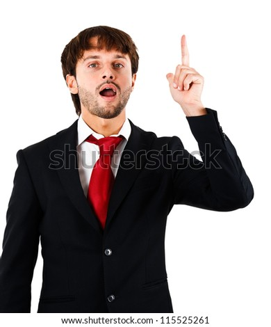Businessman raising his finger to ask a question - stock photo