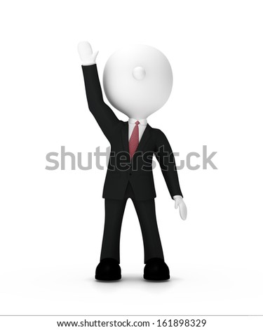 Businessman raising his  hand up ,clipping path included - stock photo