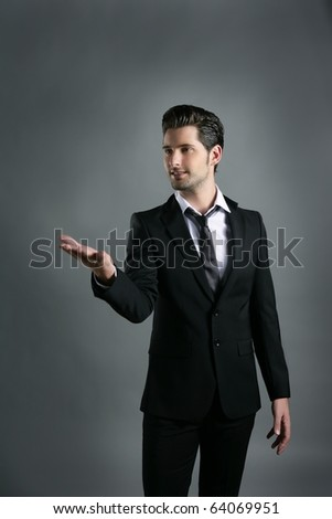 businessman raising open hand gesture copyspace gray background - stock photo