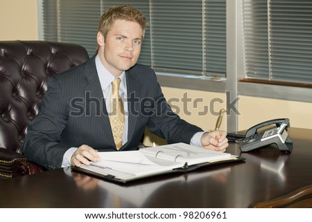 Businessman reading an annual report