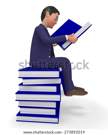 Businessman Reading Books Indicating Study College And Advisor - stock photo