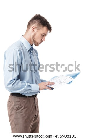 Businessman reading documents on white background