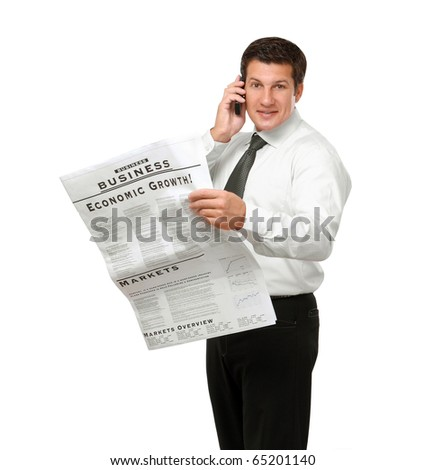 businessman reading newspaper isolated on white background - stock photo
