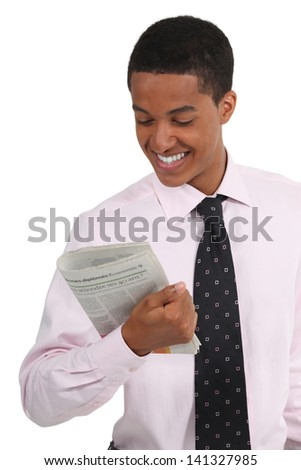 Businessman reading the journal - stock photo