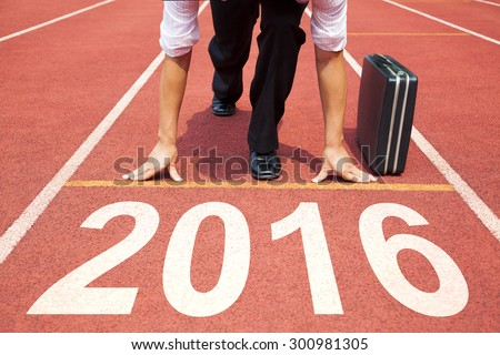 businessman  ready to run and 2016 new year concept - stock photo