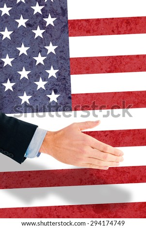 Businessman ready to shake hand against marble surface