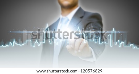 Businessman real estate city concept - stock photo
