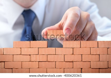 Businessman Realizes Its Business Infrastructure  - stock photo