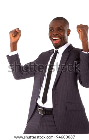 businessman rejoices - stock photo