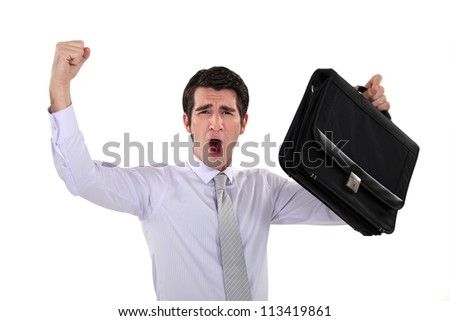 Businessman rejoicing - stock photo