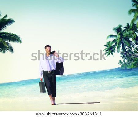 Businessman Relaxation Travel Beach Vacations Concept