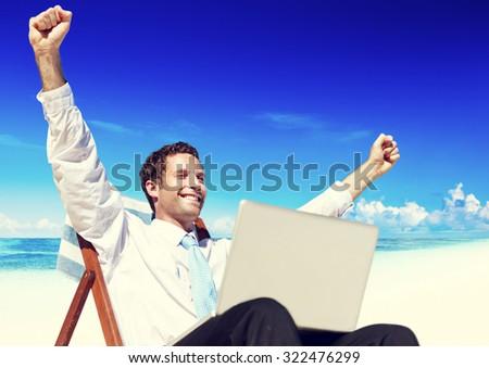 Businessman Relaxing Beach Inhaling Tropical Travel Concept - stock photo