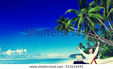 Businessman Relaxing Idyllic Palm Fringed Beach Concept - stock photo