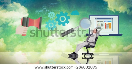 Businessman relaxing in swivel chair against blue and green sky - stock photo