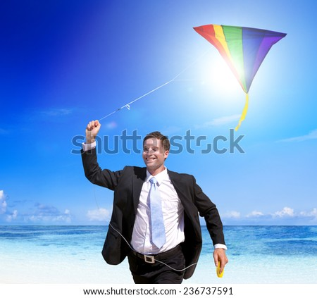 Businessman relaxing on a tropical beach. - stock photo