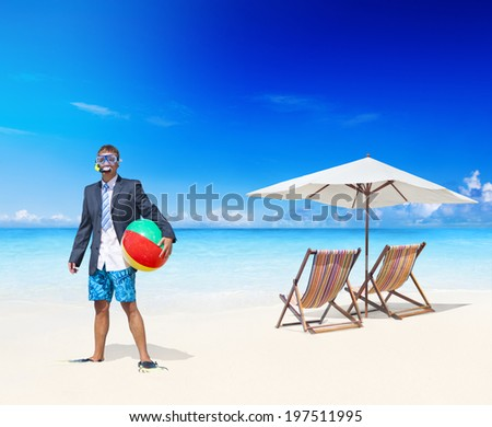 Businessman relaxing on vacation. - stock photo