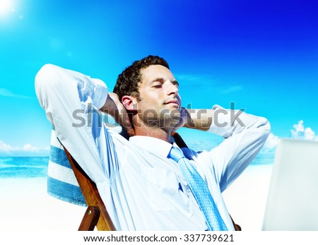 Businessman Relaxing Summer Beach Concept - stock photo