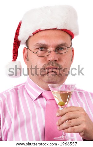 Businessman repressing a big belch after having eaten too much for Christmas - stock photo