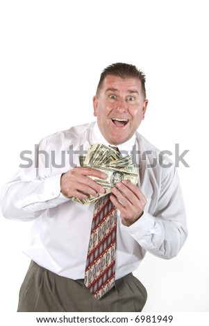 Businessman responds with joy after receiving cash for a job well done.