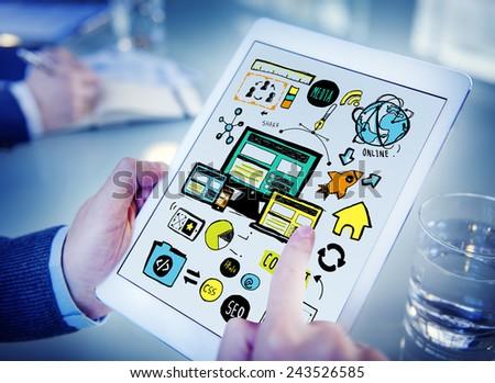 Businessman Responsive Design Content Digital Devices Concept - stock photo